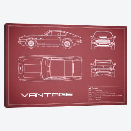 Aston Martin V8 Vantage (Maroon) 3-Piece Canvas #RGN92} by Mark Rogan Canvas Art Print