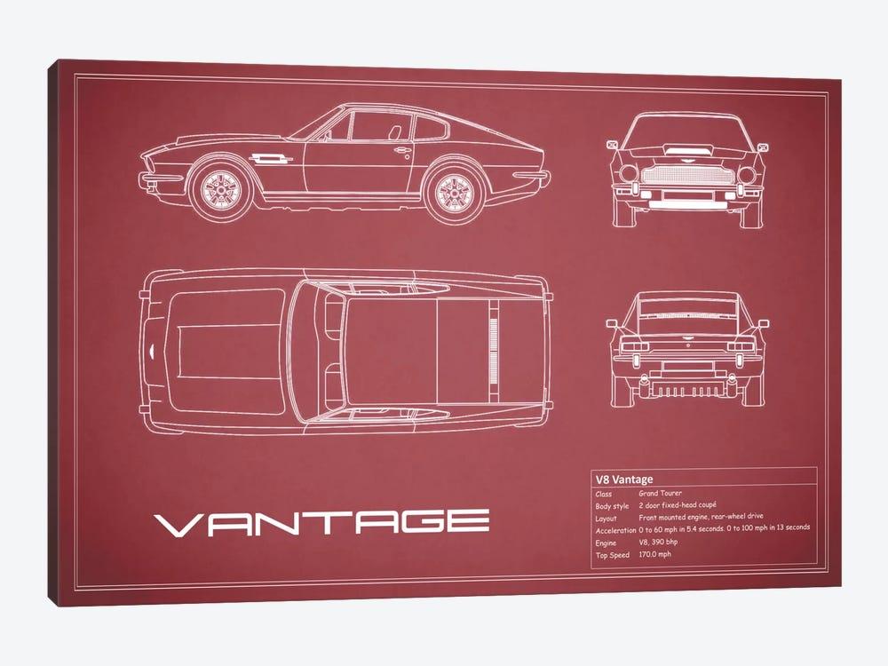 Aston Martin V8 Vantage (Maroon) by Mark Rogan 1-piece Canvas Art Print