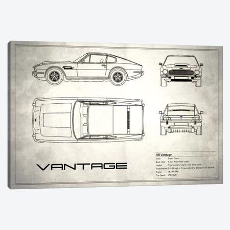 Aston Martin V8 Vantage (Vintage Silver) Canvas Print #RGN93} by Mark Rogan Canvas Art Print
