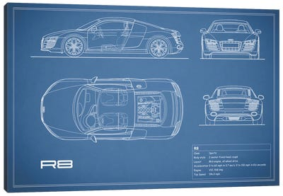 Audi R8 V10 Coupe (Blue) Canvas Print #RGN95