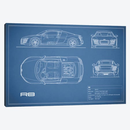 Audi R8 V10 Coupe (Blue) 3-Piece Canvas #RGN95} by Mark Rogan Canvas Artwork