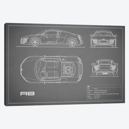 Audi R8 V10 Coupe (Grey) Canvas Print #RGN96} by Mark Rogan Canvas Artwork