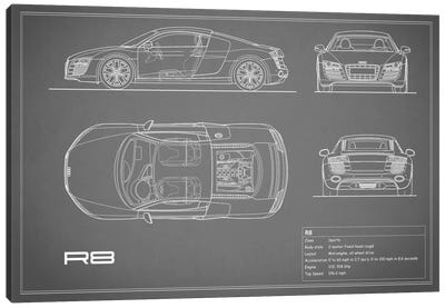 Audi R8 V10 Coupe (Grey) Canvas Print #RGN96