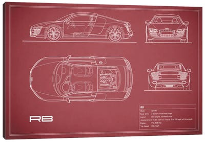 Audi R8 V10 Coupe (Maroon) Canvas Print #RGN97