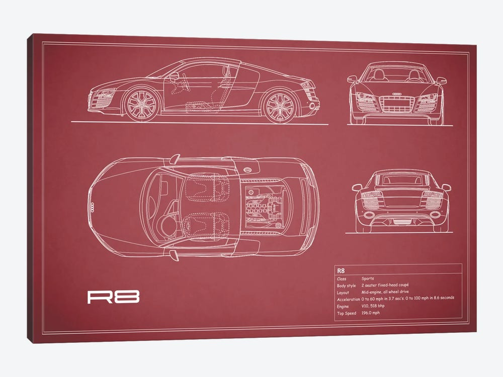 Audi R8 V10 Coupe (Maroon) by Mark Rogan 1-piece Canvas Artwork