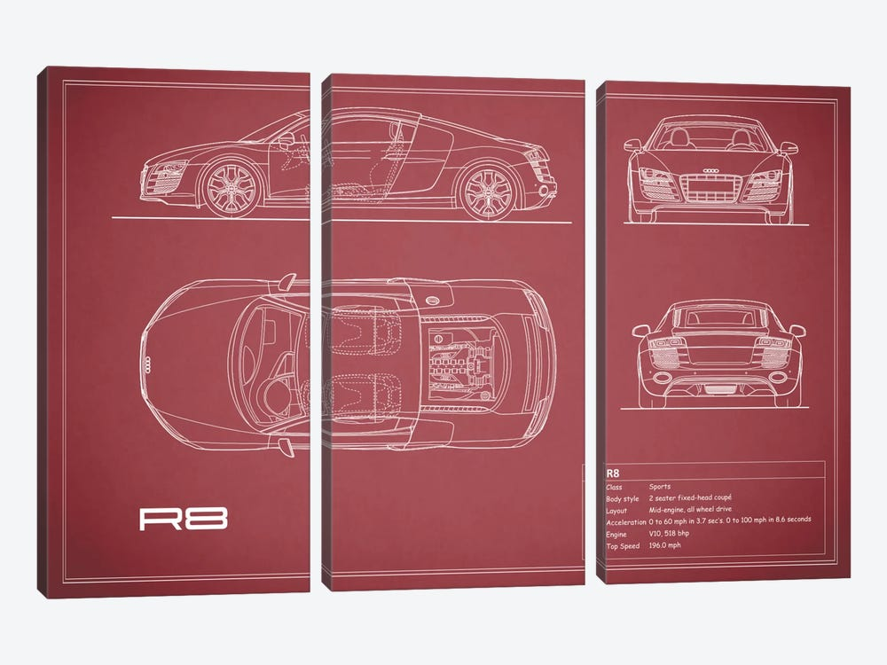 Audi R8 V10 Coupe (Maroon) by Mark Rogan 3-piece Canvas Artwork