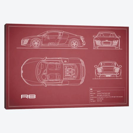 Audi R8 V10 Coupe (Maroon) 3-Piece Canvas #RGN97} by Mark Rogan Canvas Artwork