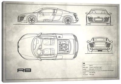 Audi R8 V10 Coupe (Vintage Silver) Canvas Print #RGN98