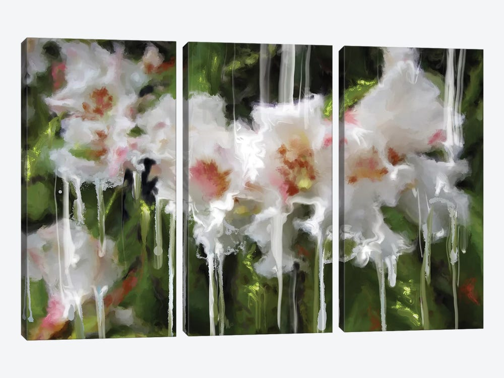 White Flor I by Patricia Rodriguez 3-piece Canvas Artwork