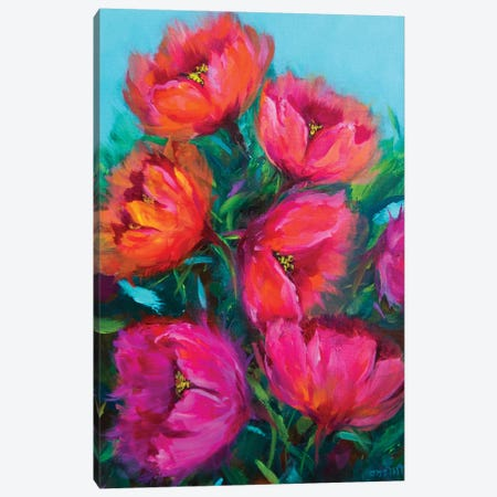 Fiery Pink And Rainbow Red Tulips Canvas Print #RHN10} by Rohini Mathur Art Print