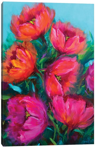 Fiery Pink And Rainbow Red Tulips Canvas Art Print
