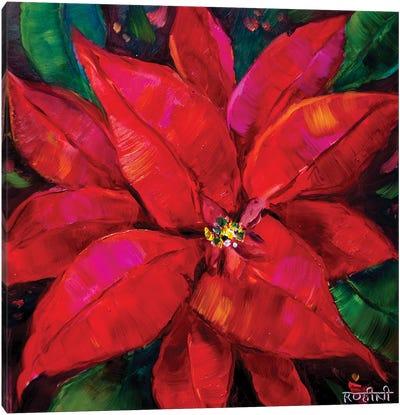 Fiery Red Poinsettia Magic Canvas Art Print