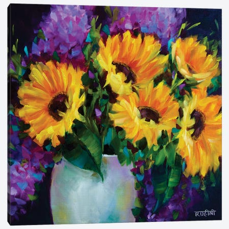 Glow In The Dark Sunflowers Canvas Print #RHN12} by Rohini Mathur Art Print
