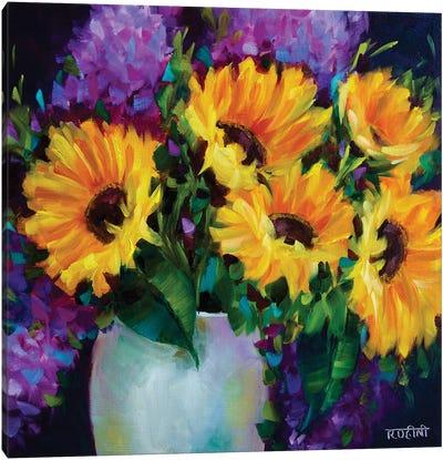 Glow In The Dark Sunflowers Canvas Art Print