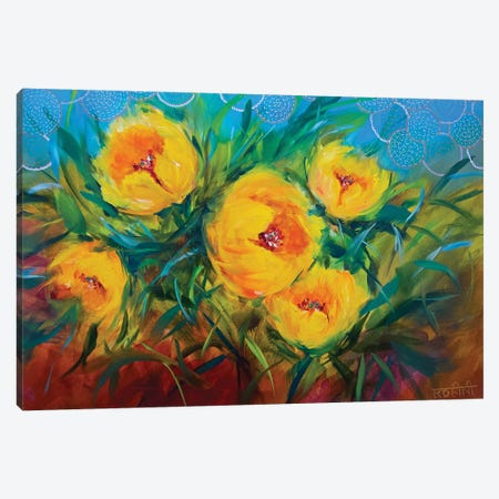 Hide-And-Seek Spring Yellow Tulips Canvas Print #RHN15} by Rohini Mathur Canvas Artwork