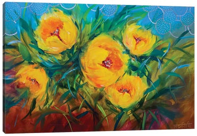 Hide-And-Seek Spring Yellow Tulips Canvas Art Print