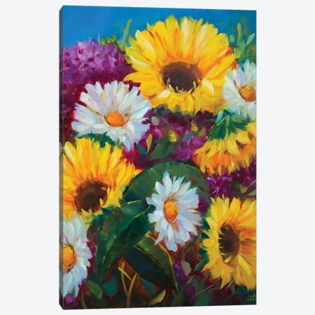 Honeydew Sunshine Sunflowers And Whispering Daisies Canvas Print #RHN16} by Rohini Mathur Canvas Art
