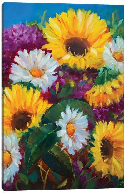 Honeydew Sunshine Sunflowers And Whispering Daisies Canvas Art Print