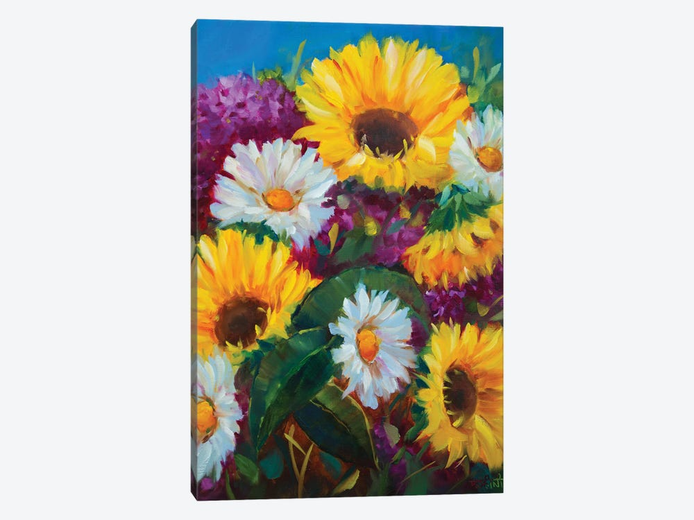 Honeydew Sunshine Sunflowers And Whispering Daisies by Rohini Mathur 1-piece Canvas Wall Art