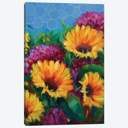 Joyful Blooming Sunflowers  Canvas Print #RHN17} by Rohini Mathur Canvas Wall Art