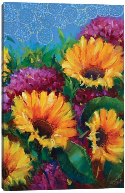 Joyful Blooming Sunflowers  Canvas Art Print