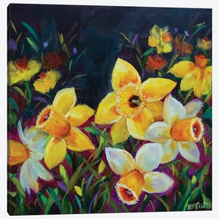 Midnight Kiss Daffodils Canvas Print #RHN19} by Rohini Mathur Art Print