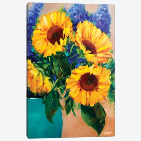 Morning Glow Sunflowers And Joyful Delphiniums Canvas Print #RHN20} by Rohini Mathur Canvas Artwork