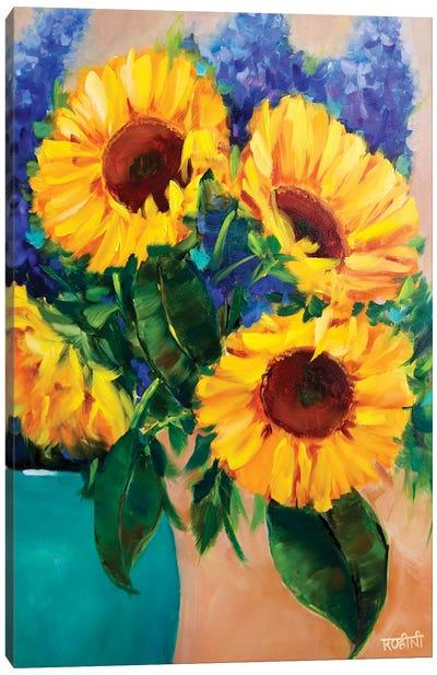 Morning Glow Sunflowers And Joyful Delphiniums Canvas Art Print