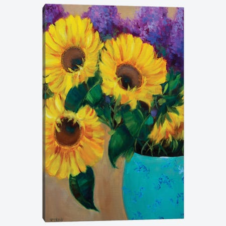 Morning Sunshine Sunflowers And Purple Delphiniums Canvas Print #RHN21} by Rohini Mathur Canvas Wall Art