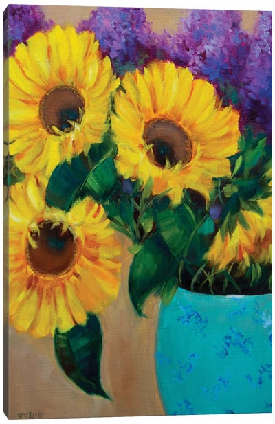 Morning Sunshine Sunflowers And Purple Delphiniums Canvas Art Print