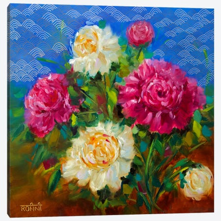 Oceanside Wind Peonies Canvas Print #RHN22} by Rohini Mathur Canvas Wall Art