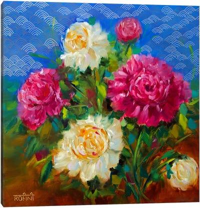 Oceanside Wind Peonies Canvas Art Print