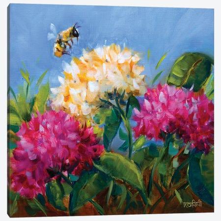 Pretty Hydrangeas And The Playful Butterfly Canvas Print #RHN24} by Rohini Mathur Canvas Art Print