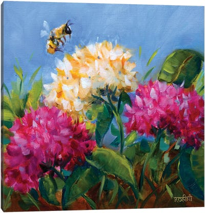 Pretty Hydrangeas And The Playful Butterfly Canvas Art Print