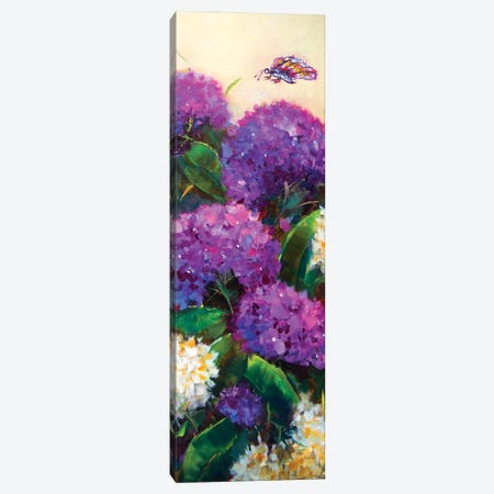 Purple Rain Hydrangeas Have A Fluttering Visitor Canvas Print #RHN25} by Rohini Mathur Art Print