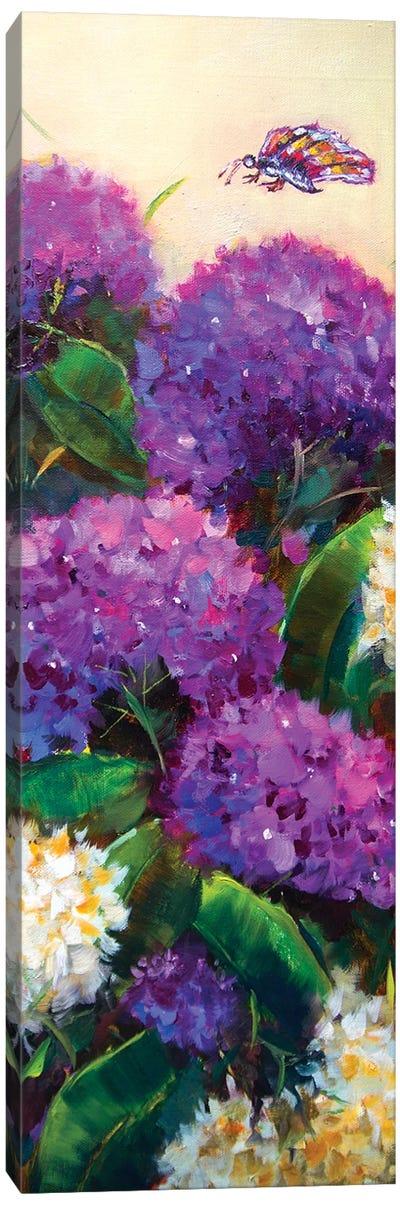 Purple Rain Hydrangeas Have A Fluttering Visitor Canvas Art Print