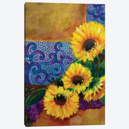 Spring Sunburst Sunflowers And Dreamy Hydrangeas Canvas Print #RHN27} by Rohini Mathur Art Print