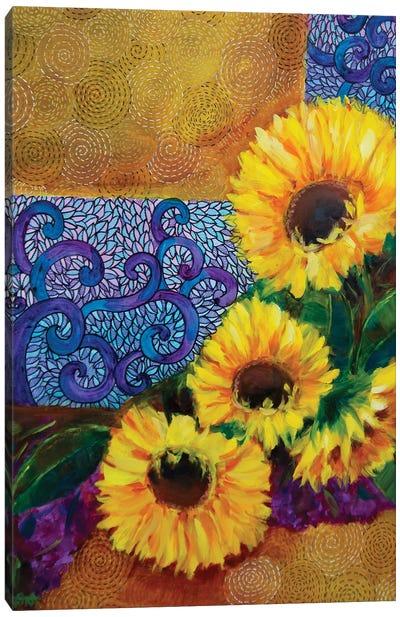 Spring Sunburst Sunflowers And Dreamy Hydrangeas Canvas Art Print