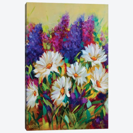 Summer Glow Daisies And Delphiniums Jungle  Canvas Print #RHN28} by Rohini Mathur Canvas Artwork