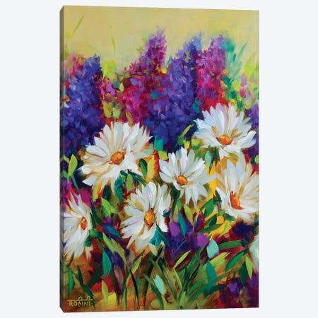 Summer Glow Daisies And Delphiniums Jungle Canvas Print #RHN28} by Rohini Mathur Canvas Artwork