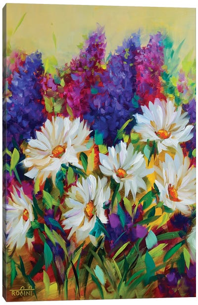 Summer Glow Daisies And Delphiniums Jungle Canvas Art Print