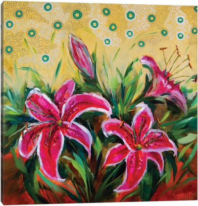 Blooming Summer Stargzer Lilies Canvas Art Print