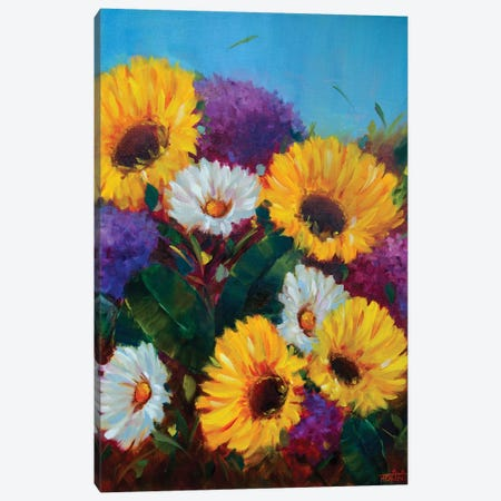 Sunkissed Sunflowers And Dreamy Hydrangeas Canvas Print #RHN30} by Rohini Mathur Canvas Print
