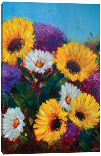 Sunkissed Sunflowers And Dreamy Hydrangeas Canvas Art Print