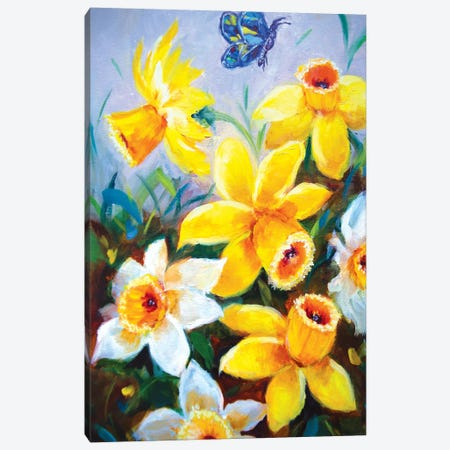 Sunshine Dancing Daffodils And The Curious Butterfly Canvas Print #RHN31} by Rohini Mathur Canvas Print
