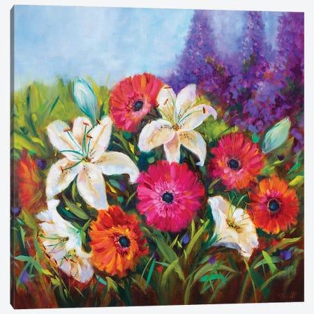 Whispering White Lilies And Spring Gerbera Garden Canvas Print #RHN33} by Rohini Mathur Canvas Art Print