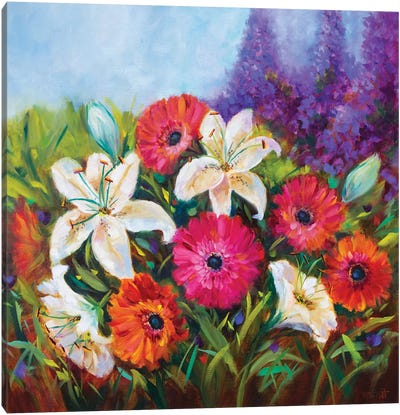 Whispering White Lilies And Spring Gerbera Garden Canvas Art Print