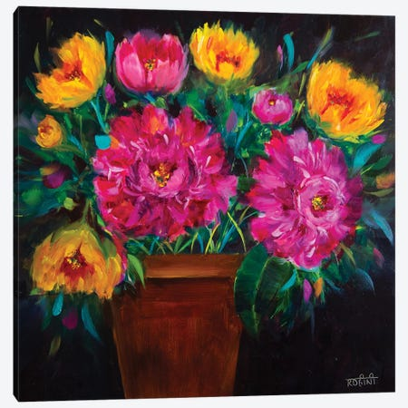 Whispering Wind Peonies And Spring Tulips Canvas Print #RHN34} by Rohini Mathur Canvas Artwork