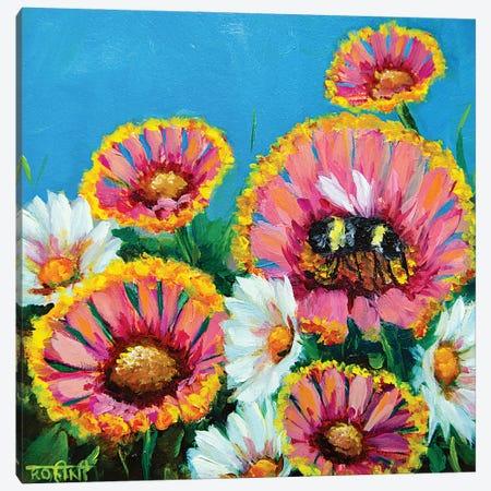 Summer Pink Gaillardias And The Busy Bee Canvas Print #RHN37} by Rohini Mathur Canvas Art