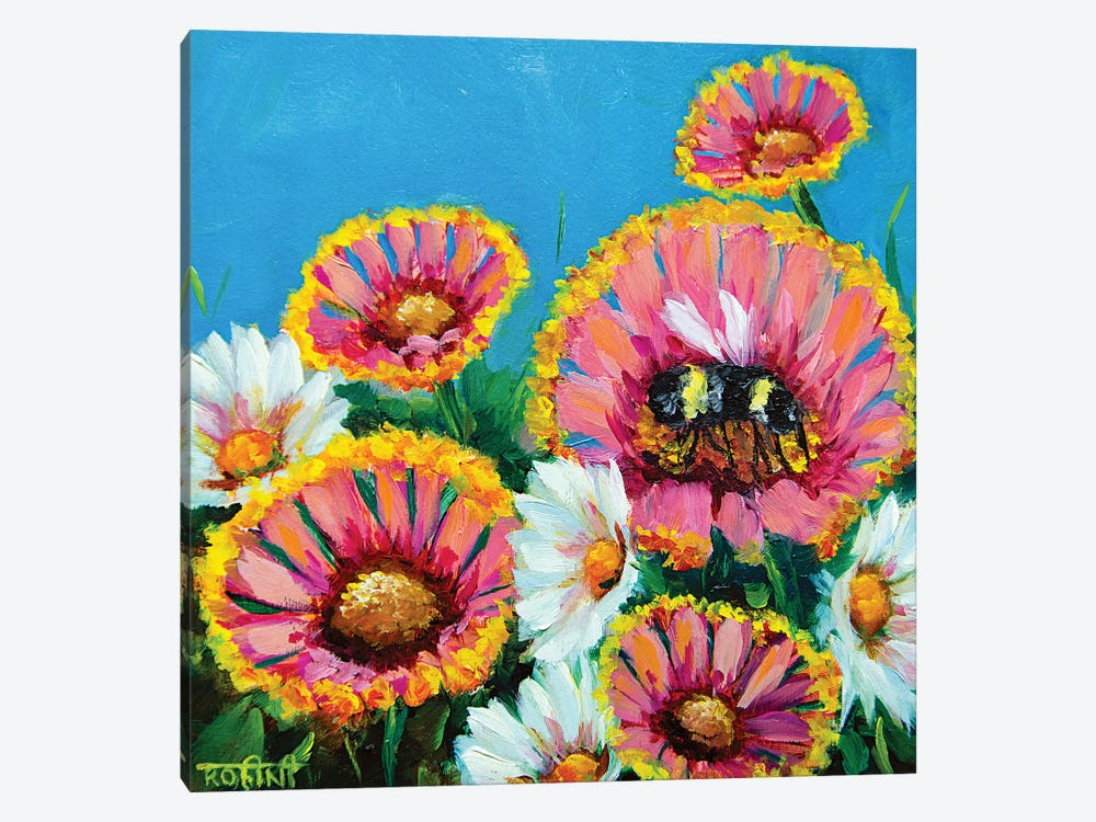 Summer Pink Gaillardias And The Busy Bee by Rohini Mathur 1-piece Canvas Print